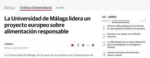 Press clipping: La Universidad de Málaga lidera un proyecto europeo sobre alimentación responsable