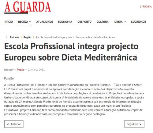 Escola Profissional integra projecto Europeu sobre Dieta Mediterrânica